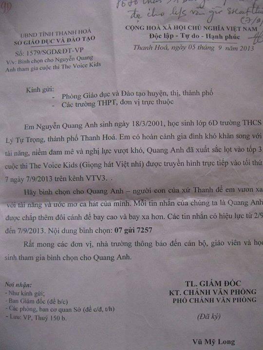 Công văn yêu cầu bình chọn cho Quang Anh được cho là của Sở Giáo dục và đào tạo Thanh Hoá.