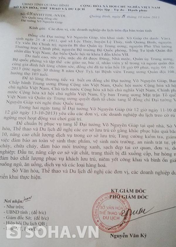 Công văn chỉ đạo của Sở VH - TT & DL Quảng Bình về việc cấm chặt chém khách về dự lễ tang Đại tướng.