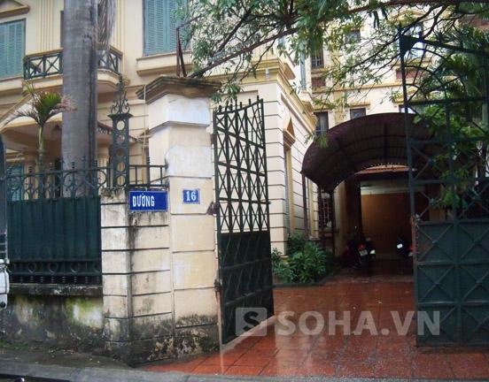 Ngôi biệt thự số 16 Ngọc Thụy, nơi xảy ra vụ án.