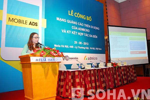 Bà Phan Đặng Trà My, Đồng Giám đốc điều hành Admicro phát biểu tại buổi lễ công bố vào sáng nay.