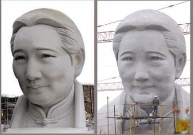 Tượng bà Tống Khánh Linh trên thiết kế (trái) và trên thực tế (phải).