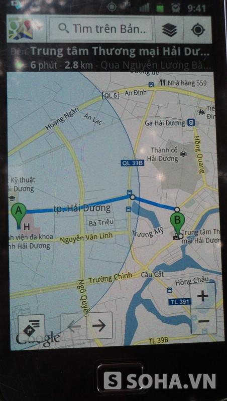 Khoảng cách thực nghiệm từ Phòng Cảnh sát PCCC đến Trung tâm Thương mại Hải Dương.