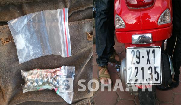 Số bi sắt để bán súng và ma túy trong túi của hai đối tượng.