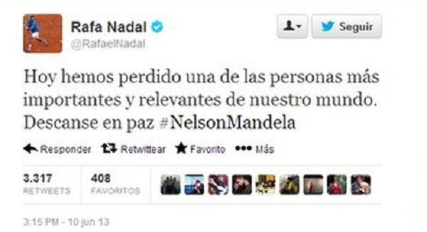 Dòng chia buồn của vận động viên quần vợt Rafa Nadal với sự qua đời của ông Nelson Mandela. Nadal là một trong rất nhiều