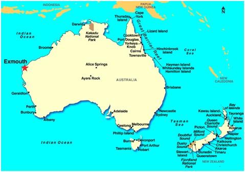 Thị trấn nhỏ Exmouth (ngôi sao màu đỏ) ở khu vực tây bắc Australia là nơi quân Mỹ sẽ lắp đặt siêu radar C-band.
