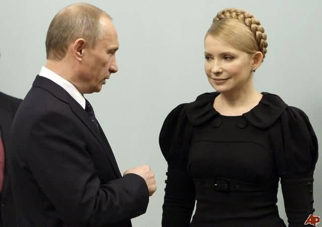 Bà Yulia Tymoshenko trong cuộc tọa đàm với ông Puttin.