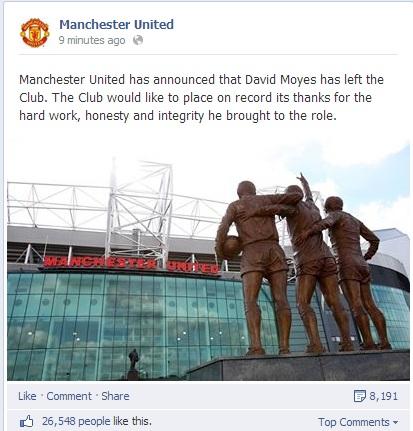 Thông tin trên facebook chính thức của Man United