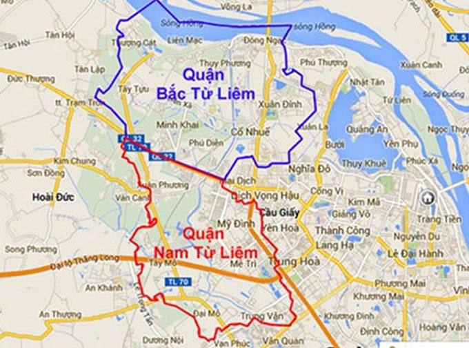 Bản đồ hai quận Bắc Từ Liêm và Nam Từ Liêm.