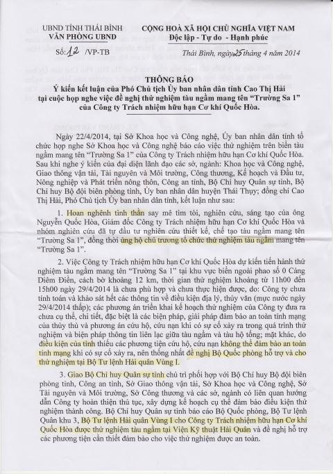 Văn bản chỉ đạo của UBND tỉnh Thái Bình với tàu ngầm Trường Sa