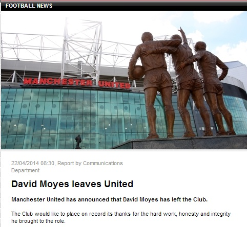 Man United đăng tải thông tin sa thải David Moyes trên trang web chính thức