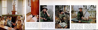 Từ trái sang: Vào vùng đối phương (phe cách mạng) kiểm soát tại Huế, Katherine gặp nhiều dân thường trú ẩn trong một nhà thờ; Một người lính thông tin Bắc Việt Nam dùng bộ đàm Mỹ; Bộ đội được vũ trang bằng súng trường do Liên Xô sản xuất, và súng phóng lựu của Mỹ.