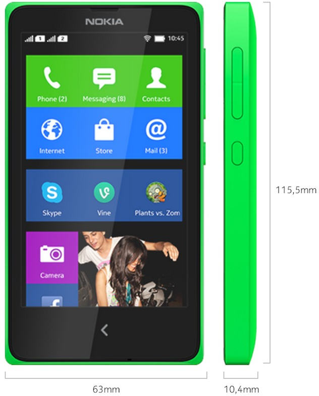 Kích thước của Nokia X (Nguồn: Nokia).