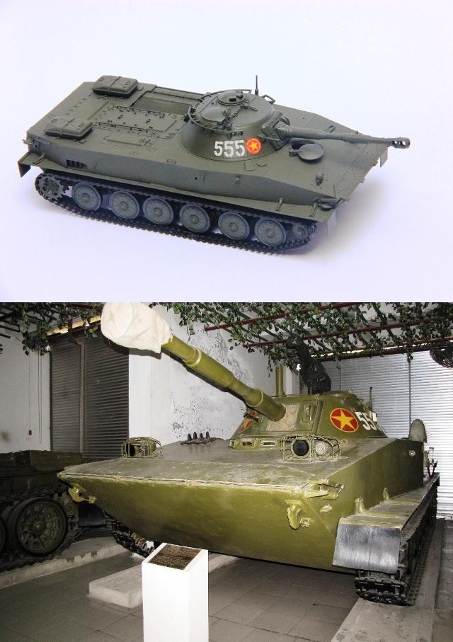 Xe tăng PT76 – Số hiệu 555, chiếc xe thuộc đại đội tăng 3, Tiểu đoàn 198 đây cũng là 1 trong những chiếc xe truyền thống đầu tiên của lự lượng Tăng - Thiết giáp. Xe đã lập công xuất sắc trong trận chiến ở Tà Mây – Làng Vây (2/1968) và chiến dịch đường 9 nam Lào tháng 2/1971.