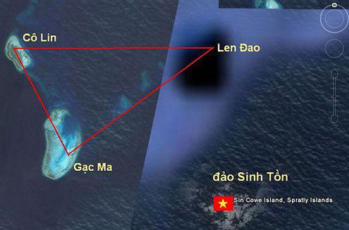 Hình ảnh cụm đảo Sinh Tồn (huyện đảo Trường Sa, Khánh Hòa) gồm đảo Sinh Tồn, Cô Lin, Len Đao, Gạc Ma. Tuy nhiên, đảo Gạc Ma đã bị Trung Quốc chiếm đóng trái phép từ ngày 14/3/1988.
