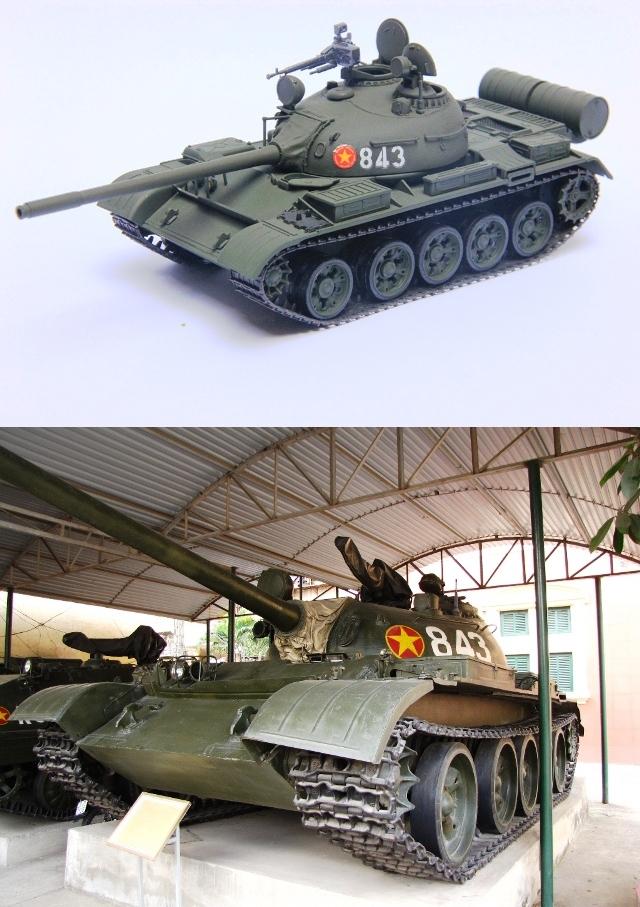 """Xe tăng T54 số hiệu 843 đã tham gia giải phóng Huế, Đà Nẵng, sau đó tiếp tục hành quân tham gia giải phóng các tỉnh ven biển miền Trung và thẳng tiến về Sài Gòn với tinh thần """"thần tốc và quyết thắng"""". Ngày 30/4/1975 xe tăng này đã dẫn đàu đội hình vào Sài gòn, trên đường đến Dinh Độc Lập đã bắn cháy 3 xe tăng và bọc thép của địch, 11h ngày 30/4/1975, xe tăng này húc vào cổng phụ của Dinh Độc Lập, bị chết máy, đồng chí Đại đội trưởng Đại đội 4 Bùi Quang Thận, chỉ huy xe tăng 843, nhảy ra khỏi xe và cắm lá cờ lên nóc Dinh Độc Lập."""