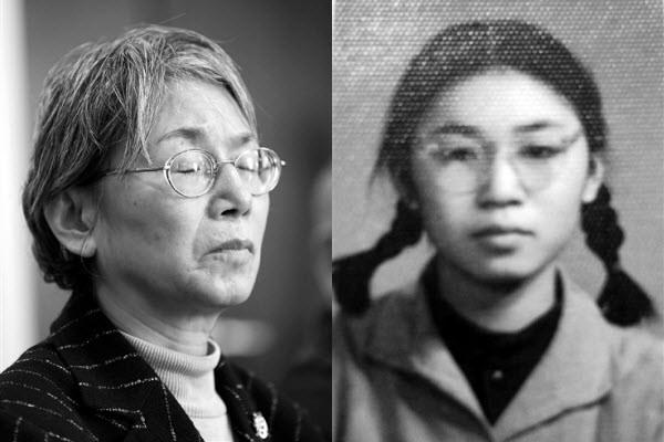 Tống Bân Bân thời còn là Hồng vệ binh trong Cách mạng Văn hóa (phải) và hiện nay (trái)