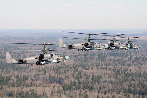 Trực thăng Ka-52 là loại trự thăng cuối cùng bay qua lễ đài.