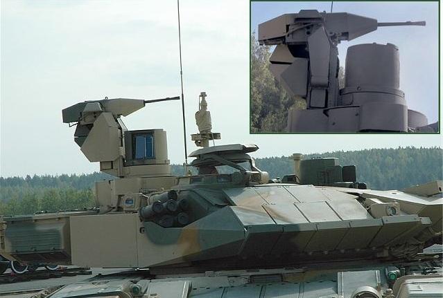 T-90 được trang bị pháo chính 2A46M 125mm với khả năng phóng tên lửa chống tăng qua nòng pháo. Vũ khí phụ gồm có súng máy đồng trục 7,62mm, đại liên phòng không điều khiển từ xa NSV 12,7mm. (Trong ảnh: Cận cảnh súng máy 7,62mm gắn trên tháp pháo)