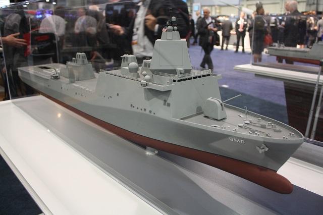 Đặc biệt, công ty Huntington Ingalls đã đem đến triển lãm năm nay mẫu tàu chiến chuyên phòng thủ tên lửa đạn đạo (Ballistic Missile Defense) dựa trên khung thân tàu đổ bộ lớp San Antonio đang hoạt động trong Hải quân Mỹ.