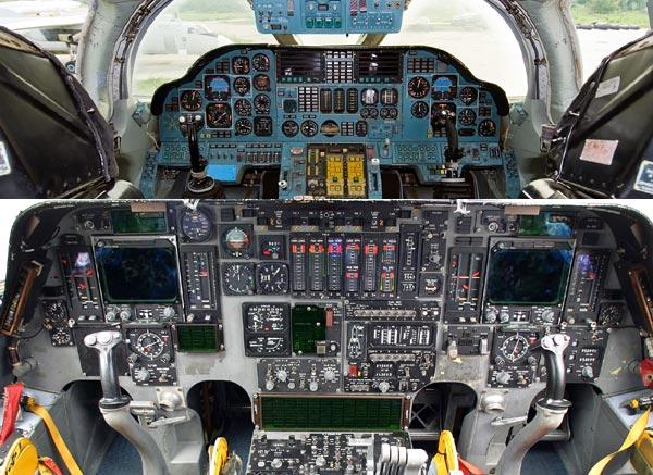 Một phần buồng lái Tu-160(ở trên) và B-1 Lancer(ở dưới)