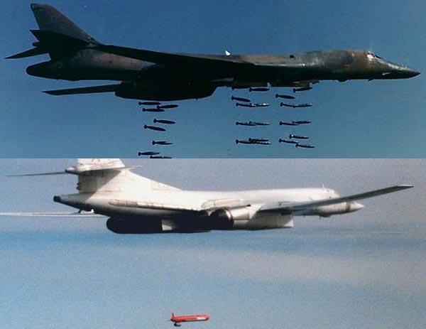 B-1B Lancer(ở trên) có khả năng mang tải trọng vũ khí lớn và đa dạng, trong khi đó Tu-160 ở dưới lại sở hữu khả năng tấn công tầm siêu xa.