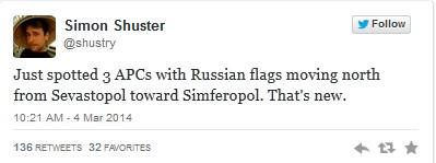 Vừa tia thấy 3 chiếc APC treo cờ Nga di chuyển từ phía bắc Sevastopol hướng về Simferopol. Đúng là tin mới.