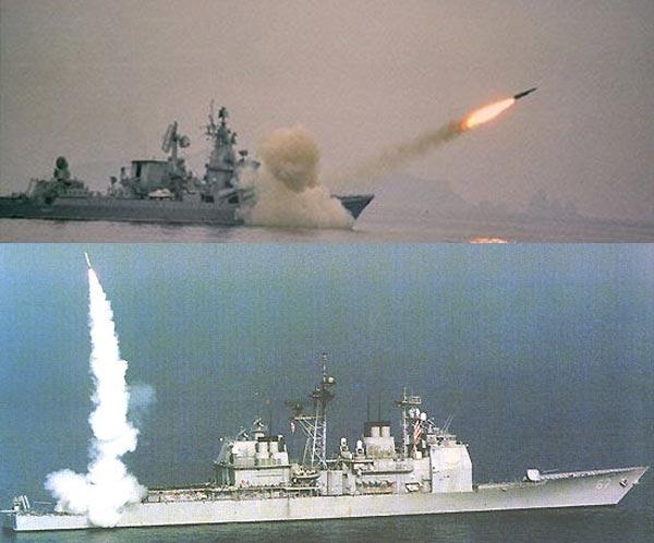 Slava(ở trên) cũng như các tàu chiến khác của Nga luôn có lợi thế về hỏa lực chống hạm. Ticonderoga(ở dưới) lại có lợi thế về khả năng tấn công mặt đất tầm xa và phòng thủ tên lửa.
