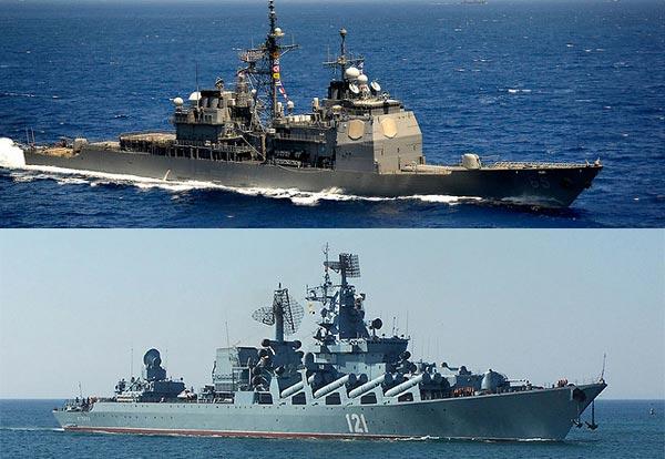 Tuần dương hạm Ticonderoga(ở trên) có thiết kế module hiện đại trong khi Slava(ở dưới) vẫn giữ kiểu thiết kế truyền thống.