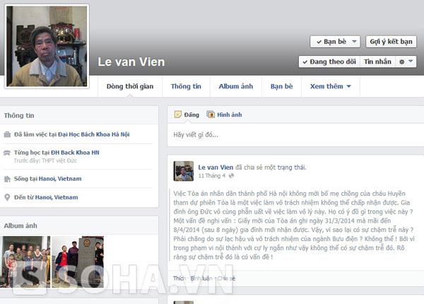 Trang Facebook của bố đẻ chị Huyền.