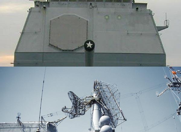 Ticonderoga đã tạo ra một bước đột phá trong thiết kế radar cho tàu chiến với radar AN/SPY-1(ở trên) trong khi Slava vẫn sử dụng kiểu radar truyền thống.