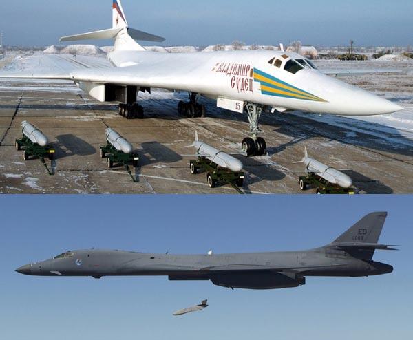TU-160(ở trên) có khả năng mang theo 12 tên lửa hành trình tấn công mặt đất tầm siêu xa Kh-55SM. B-1B Lancer(ở dưới) có thể mang theo 24 đạn tấn công ngoài tầm phòng không điểm AGM-158 JASSM.