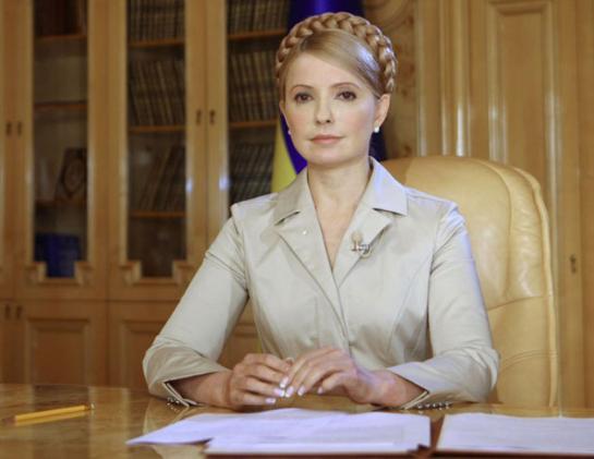 Bà Tymoshenko trong văn phòng Thủ tướng. Bà từng giữ chức Thủ tướng Ukraina từ tháng 1 - tháng 9/2005 và từ năm 2007 - 2010.