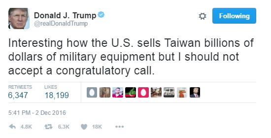 Trump: Mỹ bán cho Đài Loan hàng tỷ USD vũ khí, thế mà tôi điện đàm với lãnh đạo họ lại là sai sao - Ảnh 1.