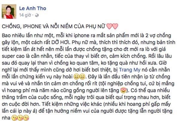 Phản ứng của vợ diễn viên Bình Minh khi được chồng tặng iPhone 7 - Ảnh 1.