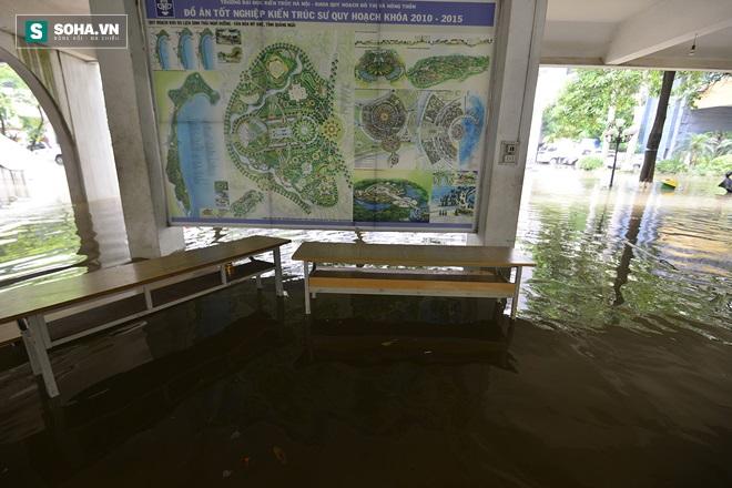 Trường ĐH Kiến Trúc có chỗ ngập 80cm, trông như một chiếc ao lớn - Ảnh 10.