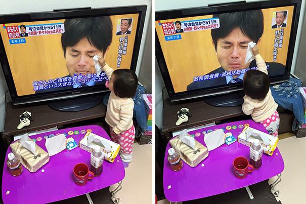 Câu chuyện bi hài phía sau bức ảnh cô bé Nhật lau nước mắt cho chính trị gia bật khóc trên truyền hình - Ảnh 1.