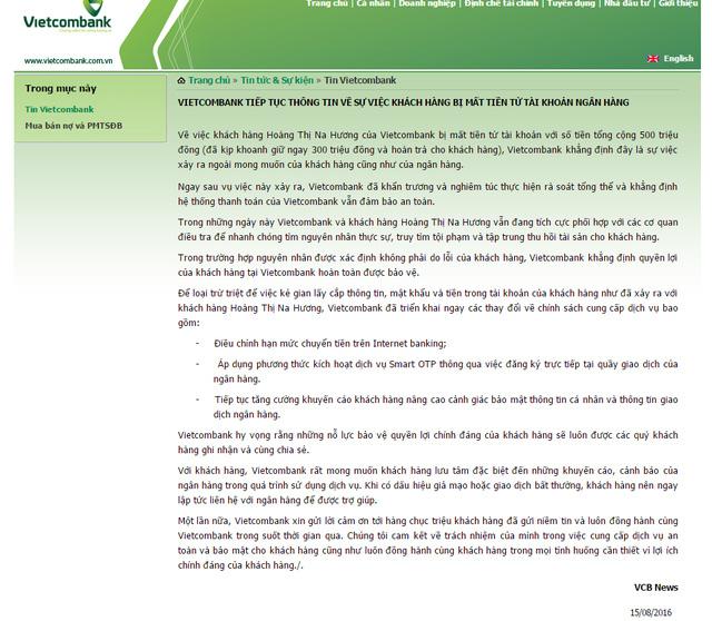Vietcombank thay đổi quy trình giao dịch: Đăng ký Smart OTP phải ra quầy giao dịch - Ảnh 1.