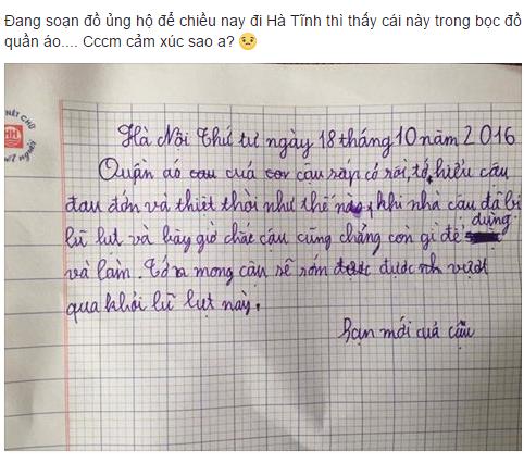 Cảm động lá thư gửi 'người bạn lạ' sau cơn lũ lụt của cậu bé lớp 4 - Ảnh 1.
