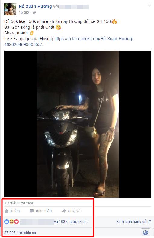 Hot girl Hồ Xuân Hương hứa đốt xe SH nếu có đủ... like - Ảnh 2.