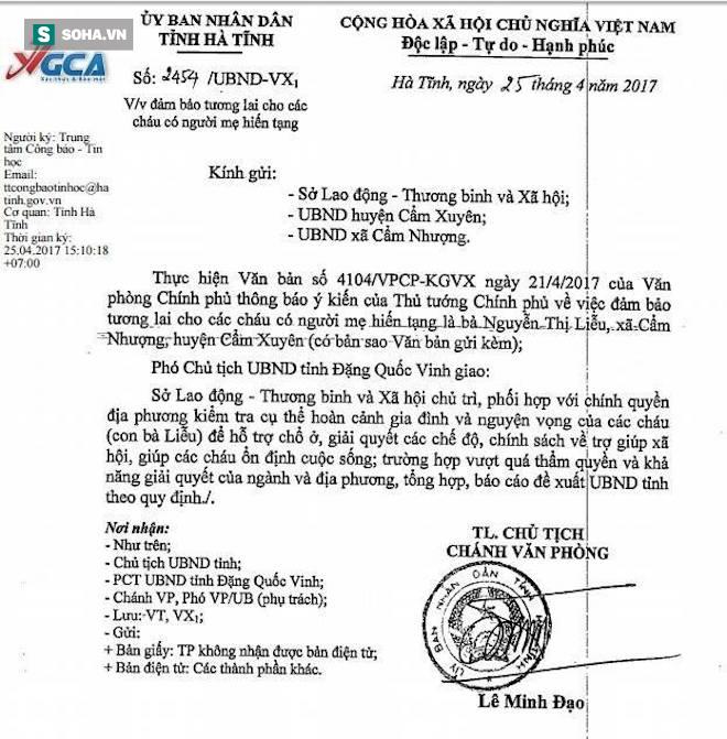 Công văn của UBND tỉnh Hà Tĩnh chỉ đạo địa phương hỗ trợ giải quyết, giúp đỡ 3 chị em Sáng trong cuộc sống.