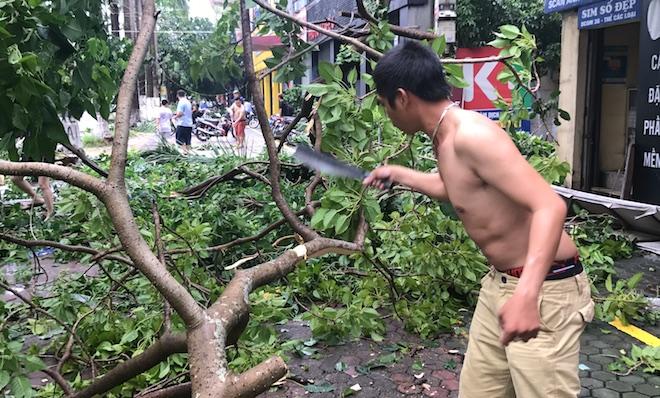 Nghệ An: Tan hoang sau bão, cây xanh bật gốc đè ô tô, người dân chặt cây tìm đường vào nhà - Ảnh 14.