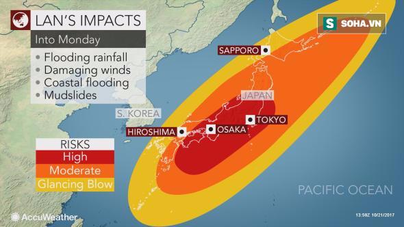 Siêu bão Lan bắt đầu gây mưa gió trên đường đổ bộ vào Nhật Bản - Ảnh 2.