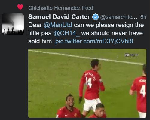 CĐV Man United khấp khởi mừng thầm với hành động của Chicharito - Ảnh 1.