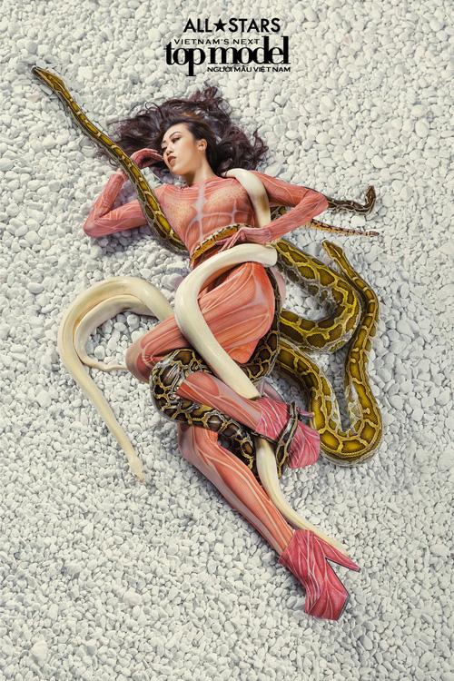 Lộ nhược điểm cơ thể khi chụp với trăn, Thùy Trâm bị loại khỏi Vietnams Next Top Model - Ảnh 15.