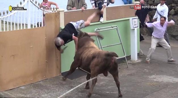 Mải quay phim trên iPad không để ý, người đàn ông bị bò tót xông tới húc văng xuống đất - Ảnh 2.