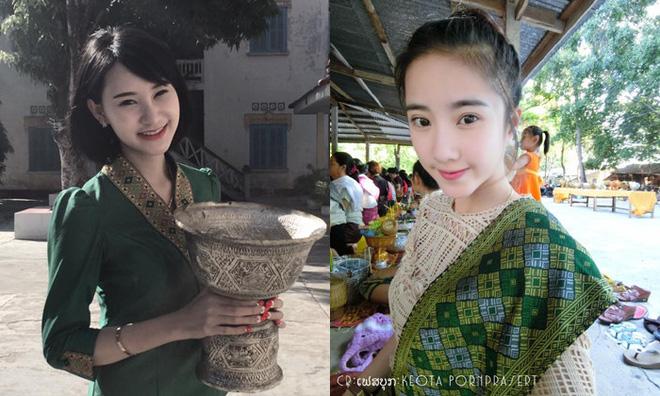 Nhan sắc ngọt ngào pha quyến rũ của 2 hot girl Lào đình đám mạng xã hội - Ảnh 1.