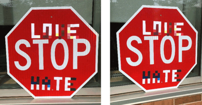 Xe tự lái chưa thể là phương tiện di chuyển an toàn khi có thể bị đánh lừa bởi vài tấm nhãn dán - Ảnh 1.