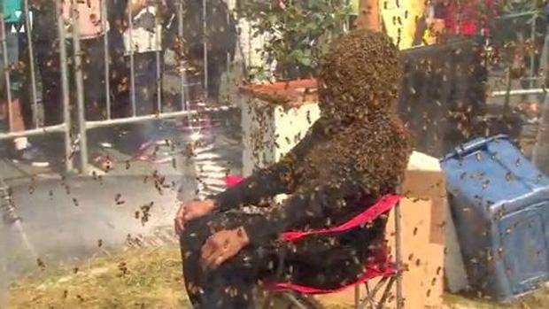 Người đàn ông để cho 100 nghìn con ong bâu kín mặt mà vẫn không sao - Ảnh 2.