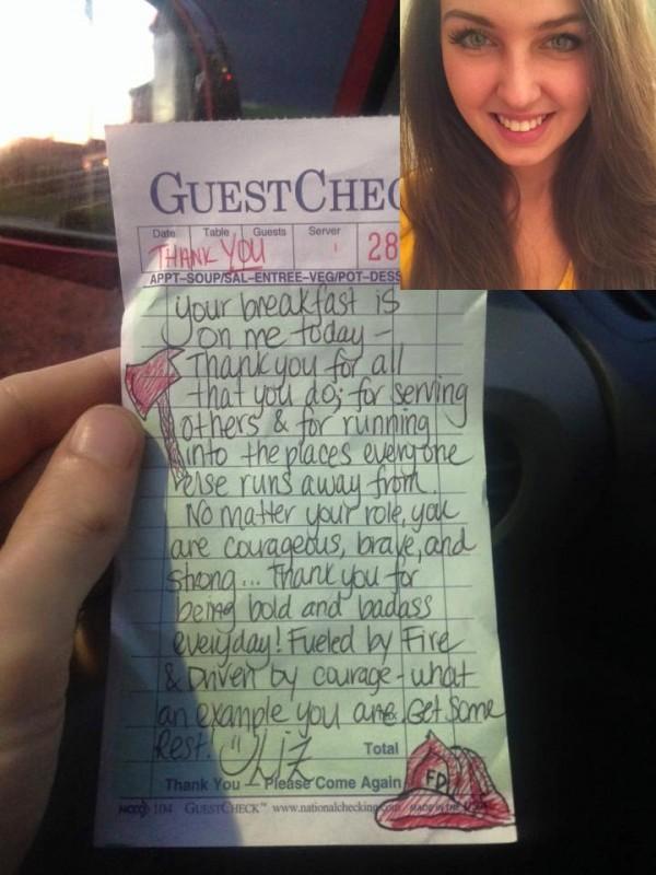 Tặng bữa sáng cho lính cứu hỏa, cô gái không ngờ sự đền đáp tiếp nối mang lại cho mình một món quà bất ngờ - Ảnh 2.