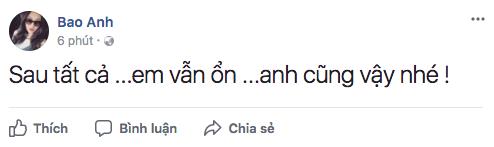 Hậu chia tay Hồ Quang Hiếu, Bảo Anh khóa tài khoản Facebook và khi trở lại cô đã nói những lời này - Ảnh 1.